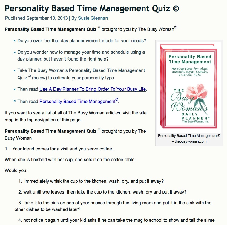 Personality Based Time Management Quiz© by The Busy Woman